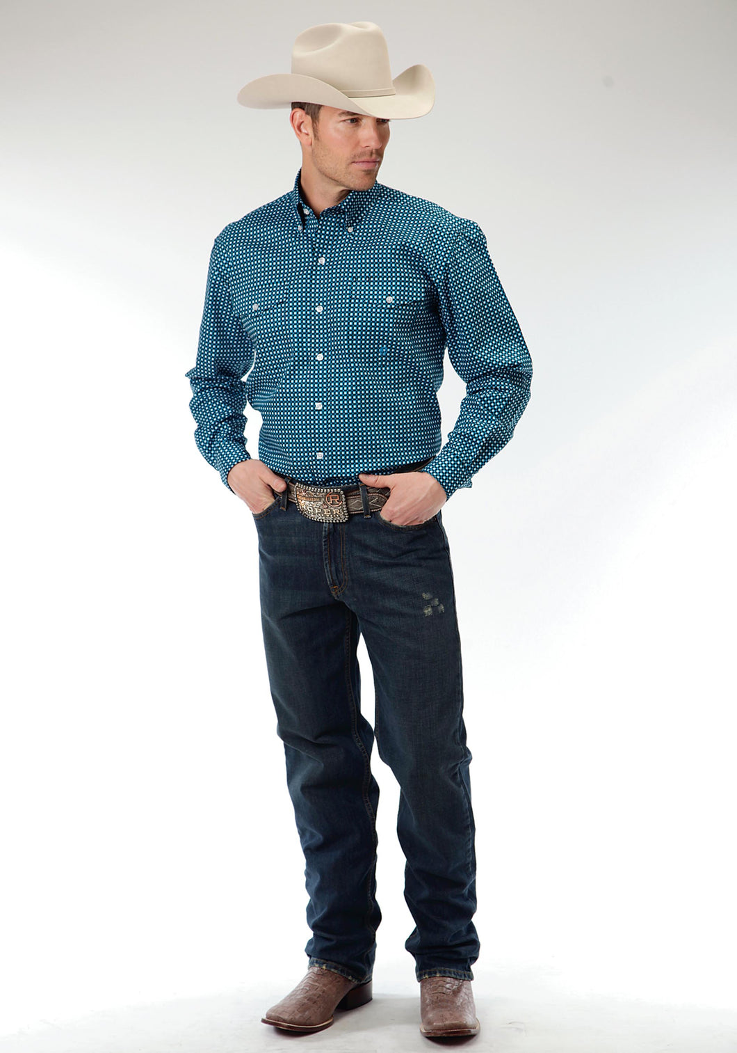 Men's Amarillo Collection- Teal Glass Amarillo Mens Long Sleeve Shirt 0546 Square Geo