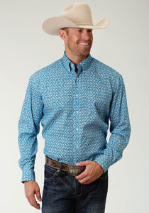 Men's Amarillo Collection- Indigo Blue Amarillo Mens Long Sleeve 2435 Vintage Denim Paisley