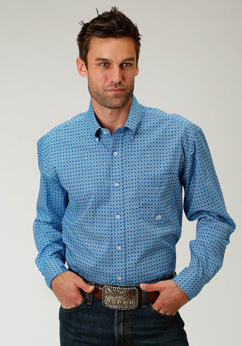 Men's Amarillo Collection- Blue Yonder Amarillo Mens Long Sleeve Shirt 1681 Silver Spur Foulard