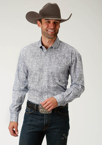 Men's Amarillo Collection- Route 66 Amarillo Mens Long Sleeve Shirt 1684 Navy Line Paisley