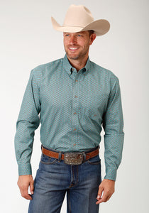 Men's Amarillo Collection- Sage Trail Amarillo Mens Long Sleeve Shirt 1685 Four Leaf Geo