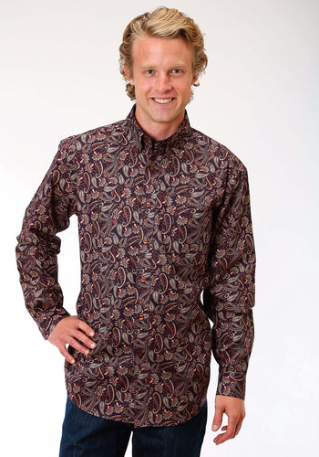 Men's Amarillo Collection- Spice Rum Amarillo Mens Long Sleeve Shirt 1187 Western Paisley