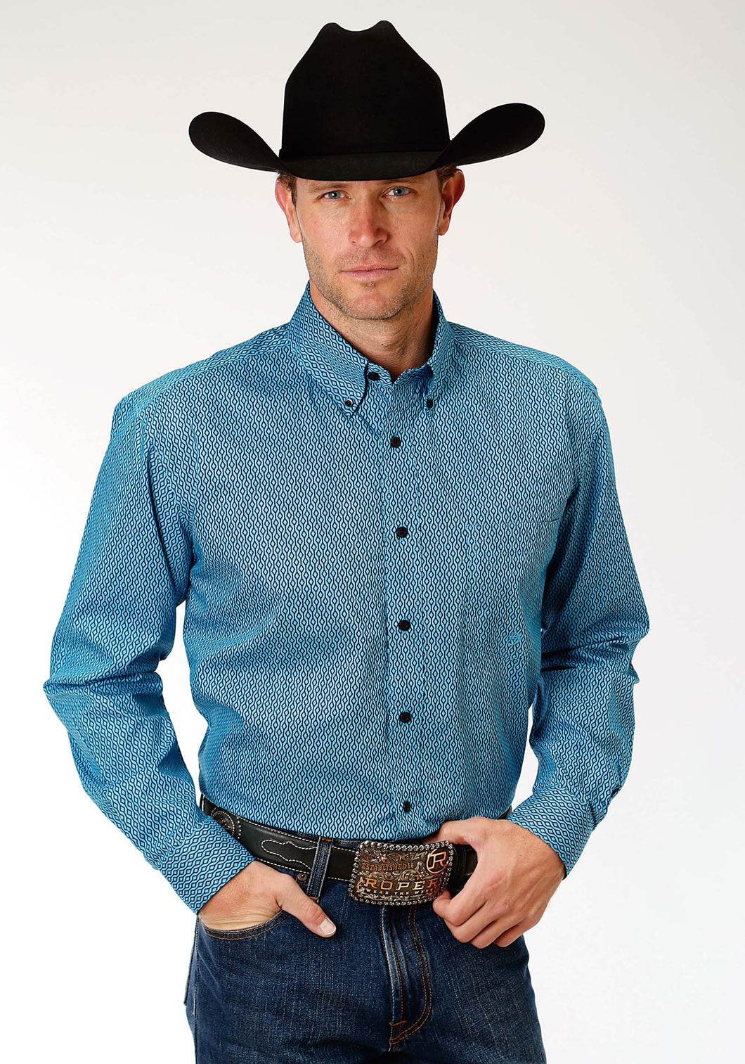 Men's Amarillo Collection- Blue Jay Amarillo Mens Long Sleeve Shirt 1188 Climbing Diamonds