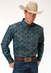 Men's Amarillo Collection- Blue Jay Amarillo Mens Long Sleeve Shirt 1189 Celtic Paisley