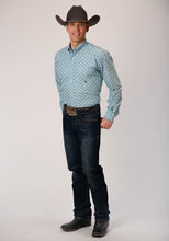 Men's Amarillo Collection- Cool Pines Amarillo Mens Long Sleeve 00480 Mini Aztec Stretch Oxford