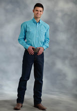 Amarillo Collection- Willow Winds Amarillo Mens Long Sleeve Shirt 0282 Solid Poplin - Turquoise