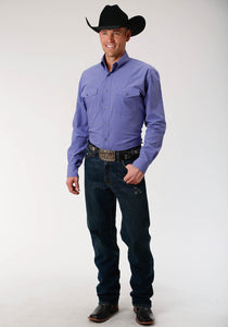 Men's Amarillo Collection- Agate Stone Amarillo Mens Long Sleeve Shirt 1528 Solid Poplin - Purple