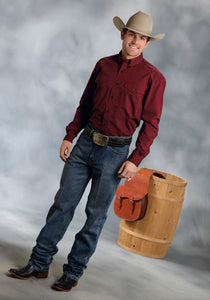 Amarillo Collection- Red Granite Amarillo Mens Long Sleeve Shirt 9365 Solid Poplin Wblack Fill - Wine