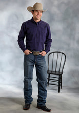 Amarillo Collection- Purple Sapphire Amarillo Mens Long Sleeve Shirt 9365 Solid Poplin Wblack Fill-purple