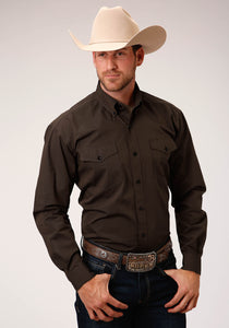 Men's Amarillo Collection- Cedar Brook Amarillo Mens Long Sleeve 00277 Brown With Black Fill