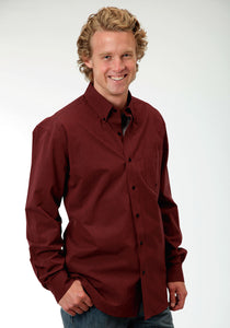 Men's Amarillo Collection- Red Coral Amarillo Mens Long Sleeve Shirt 0709 Black Fill Poplin - Rust