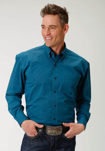 Men's Amarillo Collection- Tall Pine Amarillo Mens Long Sleeve 1882 Black Poplin Fill - Teal