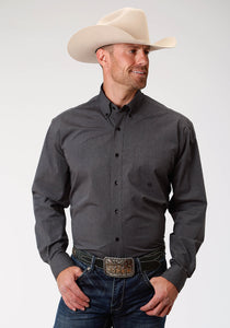 Men's Amarillo Collection- Charcoal Embers Amarillo Mens Long Sleeve 9723 Gray Black Fill Solid