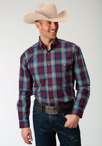 Men's Amarillo Collection- Mountain Lodge Amarillo Mens Long Sleeve Shirt 1264 Wine Plaid