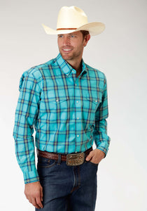 Men's Amarillo Collection- Prairie Wind Amarillo Mens Long Sleeve Shirt 0831 Sea Ombre Plaid