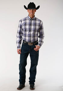Men's Amarillo Collection- Agate Stone Amarillo Mens Long Sleeve Shirt 1523 Big Sky Plaid