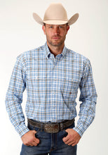 Men's Amarillo Collection- Blue Yonder Amarillo Mens Long Sleeve Shirt 1675 Blue Spirng Plaid