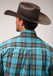 Men's Amarillo Collection- Cool Pines Amarillo Mens Long Sleeve 00275 Sea Green Plaid