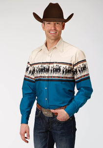 West Made Collection Westm Mens Long Sleeve 0806 Horse Border