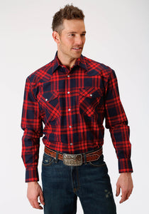 Outer Mens Long Sleeve Shirt 1502 Red Plaid Flannel Shirt Jacket