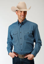 Men's Amarillo Collection- Crystal Blue Amarillo Mens Long Sleeve Shirt 1268 Diamond Cut Geo