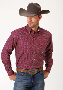 Men's Amarillo Collection- Route 66 Amarillo Mens Long Sleeve Shirt 1683 8 Point Geo