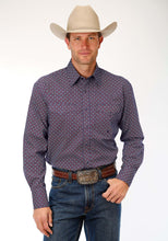 Men's Amarillo Collection- Old Glory Amarillo Mens Long Sleeve Shirt 1190 Diamond Bubbles