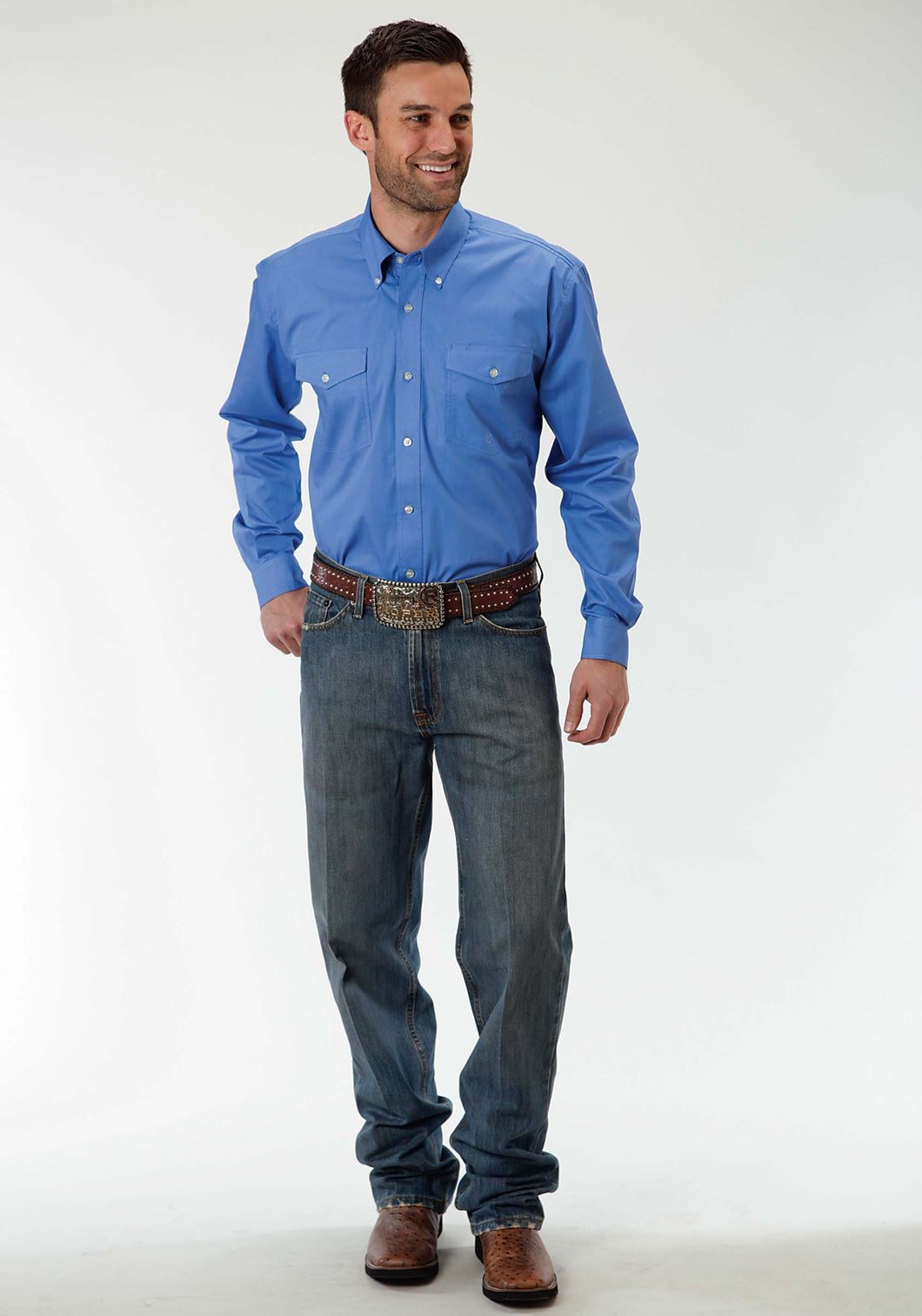 Men's Amarillo Collection- Bridle Path Amarillo Mens Long Sleeve Shirt 0856 Solid Poplin - Periwinkle