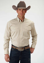 Men's Amarillo Collection- Summer Picnic Amarillo Mens Long Sleeve Shirt 0466 Solid Poplin Stone