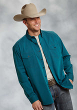 Amarillo Collection- Turquoise Sea Amarillo Mens Long Sleeve Shirt 8903 Black Fill Poplin - Turquoise