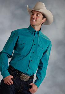 Amarillo Collection- Cold Mountain Amarillo Mens Long Sleeve Shirt 0059 Black Fill Poplin - Turquoise