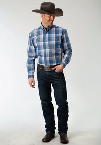 Men's Amarillo Collection- Crystal Blue Amarillo Mens Long Sleeve Shirt 1262 Blue Gray Plaid