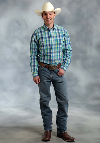Amarillo Collection- Willow Winds Amarillo Mens Long Sleeve Shirt 0174 George Plaid