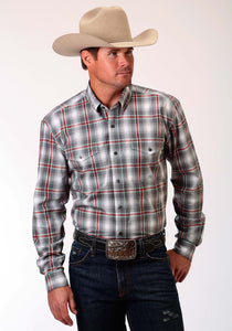 Men's Amarillo Collection- Crossfire Amarillo Mens Long Sleeve Shirt 0833 Shadow Plaid