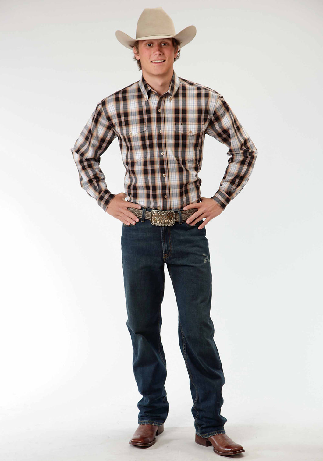 Men's Amarillo Collection- Desert Shadow Amarillo Mens Long Sleeve Shirt 0402 Driftwood Plaid