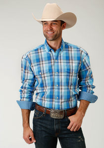 Men's Amarillo Collection- Blue Yonder Amarillo Mens Long Sleeve Shirt 1676 Blue Panes Plaid
