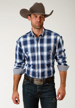 Men's Amarillo Collection- Route 66 Amarillo Mens Long Sleeve Shirt 1677 Navy Plaid