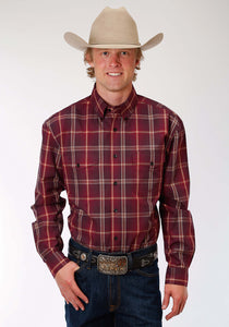 Men's Amarillo Collection- Spice Rum Amarillo Mens Long Sleeve Shirt 1185 Firehouse Plaid