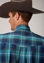 Men's Amarillo Collection- Cool Pines Amarillo Mens Long Sleeve 00276 Blue Shadow Plaid