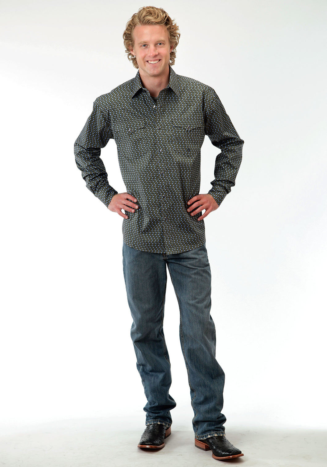 Men's Amarillo Collection- Green River Amarillo Mens Long Sleeve Shirt 0563 Stacked Diamonds
