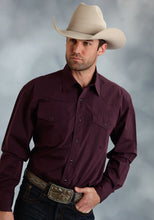 Amarillo Collection- Wine Country Amarillo Mens Long Sleeve Shirt 0059 Black Fill Poplin - Plum