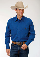 Men's Amarillo Collection- Old Glory Amarillo Mens Long Sleeve Shirt 1257 Black Fill - Blue