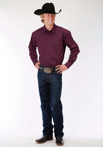 Men's Amarillo Collection- Spiced Rum Amarillo Mens Long Sleeve Shirt 1256 Black Fill - Wine