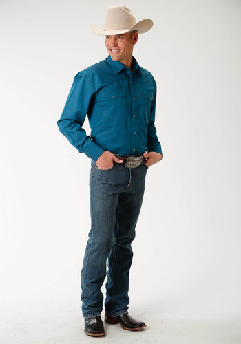 Amarillo Collection- Tall Pine Amarillo Mens Long Sleeve 1882 Black Poplin Fill - Teal