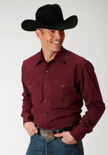 Amarillo Collection- Rio Grande Amarillo Mens Long Sleeve 1882 Black Fill Poplin - Red