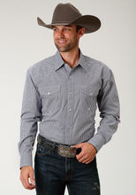 Men's Amarillo Collection- Route 66 Amarillo Mens Long Sleeve Shirt 1680 Amarillo Check - Navy