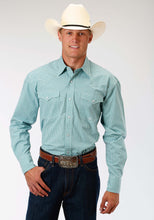 Men's Amarillo Collection- Lucky Clover Amarillo Mens Long Sleeve Shirt 0969 Mini Checks - Jade