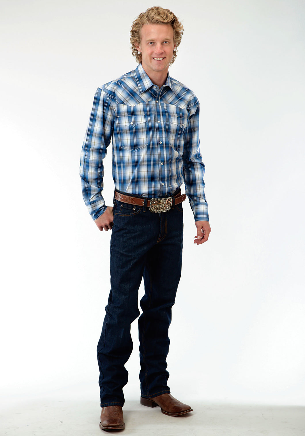Men's Amarillo Collection- Green River Amarillo Mens Long Sleeve Shirt 0555 Blue River Plaid