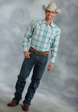 Amarillo Collection- Azure Mist Amarillo Mens Long Sleeve Shirt 0172 Oceanside Plaid