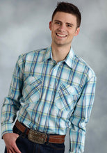 Amarillo Collection- Willow Winds Amarillo Mens Long Sleeve Shirt 0173 Blue Agave Plaid